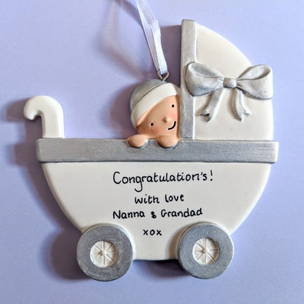 Personalised Baby in a Pram - Silver